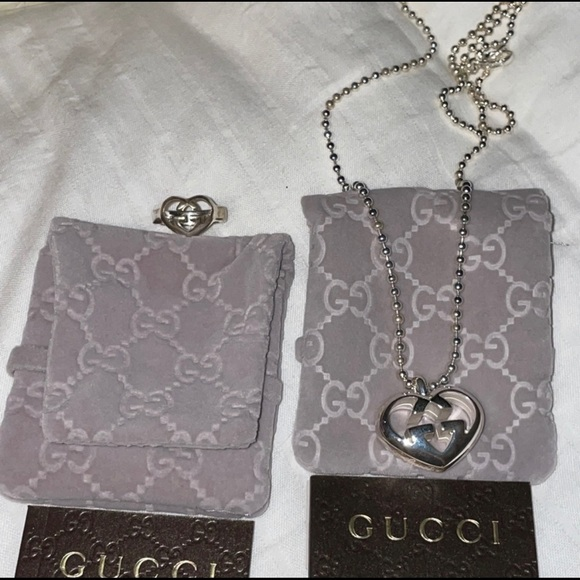 Authentic Gucci matching necklace and ring